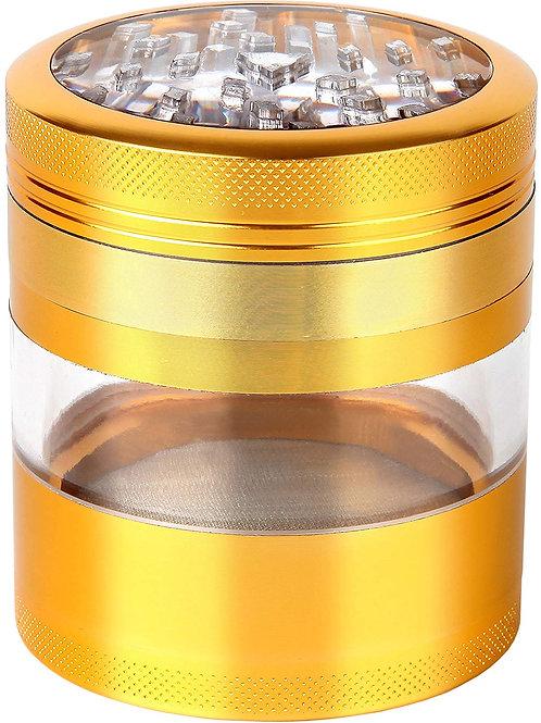 Large Herb Grinder - Four Piece with Pollen Catcher - Gold