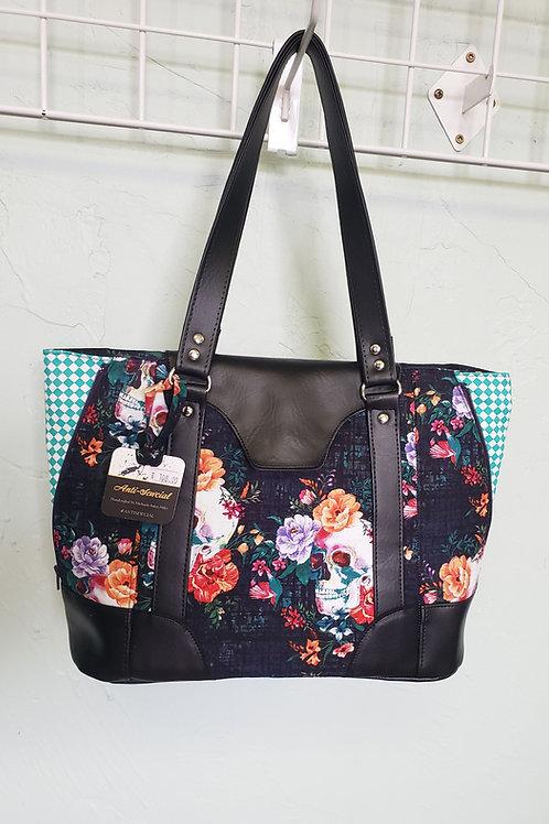 Skulls and Flowers Expandable Handbag