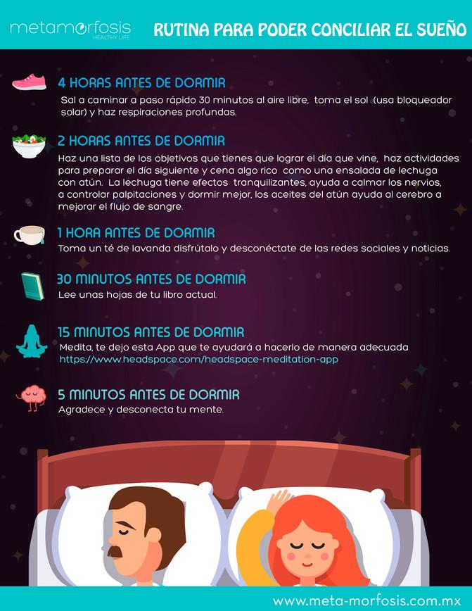 Rutina para poder conciliar el sueño.