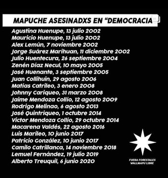 mapuches asesinados en democracia