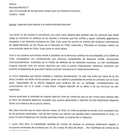 Carta abierta a Michelle Bachelet por violaciones de DDHH en Chile.
