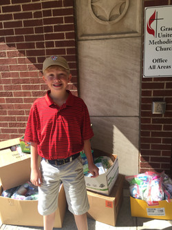 Grant with collected items