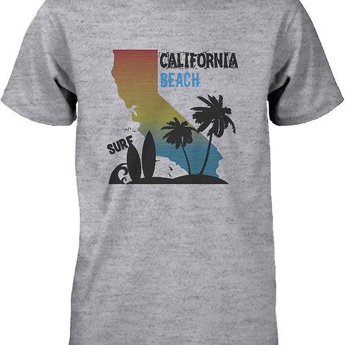CA Map Gradation California Beach Surf Graphic T-Shirt for Men Tee for Surfer