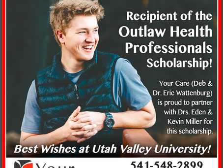 Congratulations to Brogan Peterson - Outlaw Health Professionals Scholarship Winner!