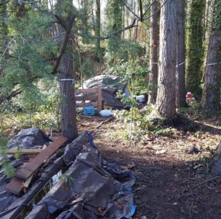 Police clean up vacant homeless encampment near SR 305