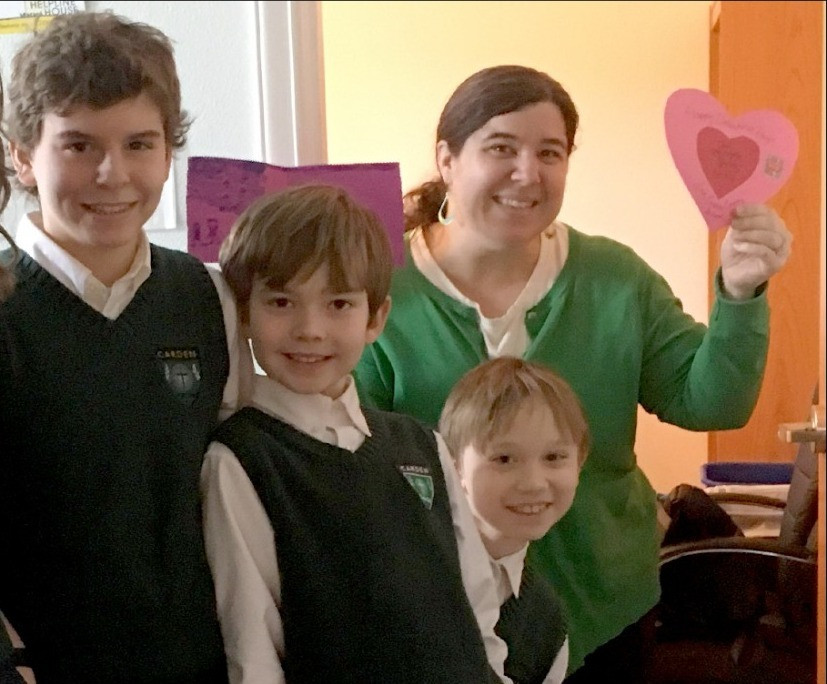 Carden School students surprise Maria with a handmade Valentine