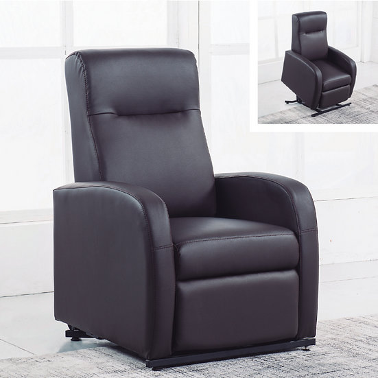 Sillon relax levantapersonas. Polipiel chocolate