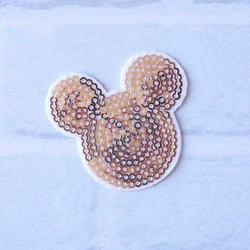 Patch thermocollant Tête de Mickey - Patch à sequins dorés