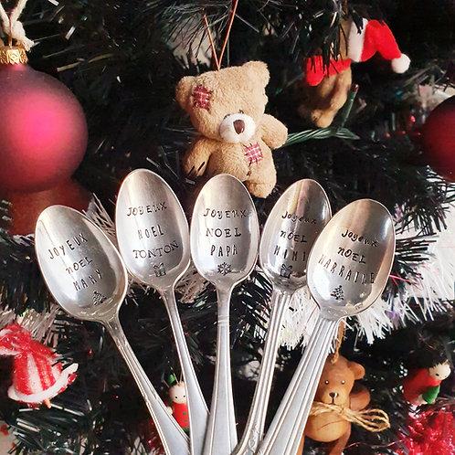 Petite Cuillère en Métal Argenté - Joyeux Noël Personnalisé