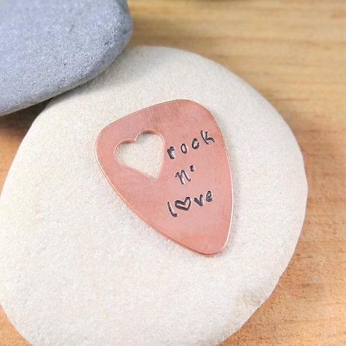 Médiator de Guitare Coeur - Gravure Rock N' Love