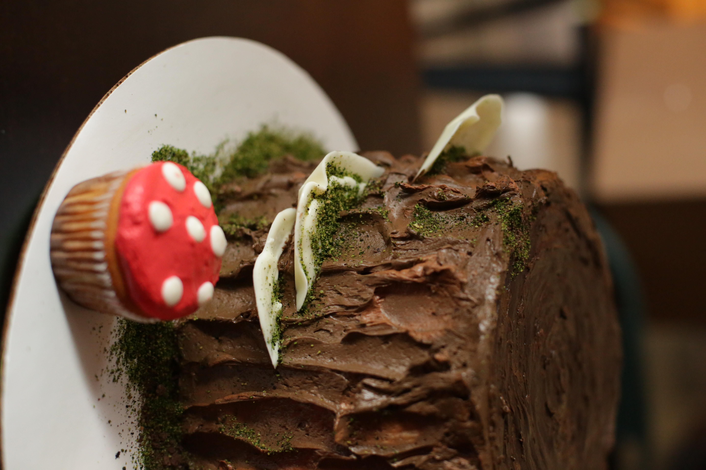 Tree Stump Cake with Mushrooms