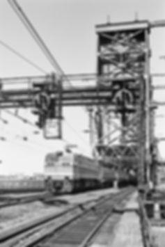 Amtrak E60 966 westbound at Dock Drawbridge, Newark, New Jersey, 1977, Oren B. Helbok photo