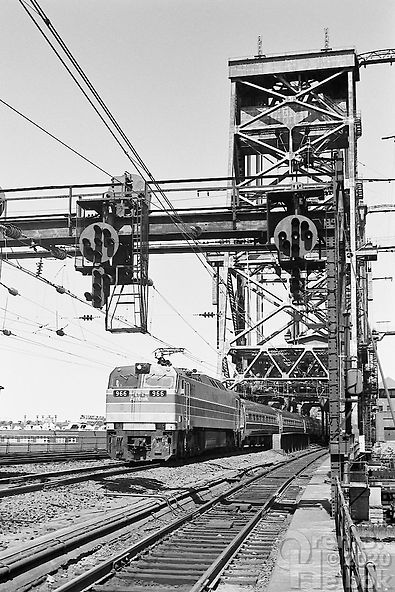 Amtrak E60 966 westbound at Dock Drawbridge, Newark, New Jersey, 1977, Oren B. Helbok photo