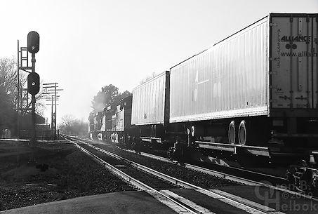 Iron Triangle, Fostoria, Ohio, B&O station, NS diamonds, westbound CSX freight, Oren B. Helbok photo