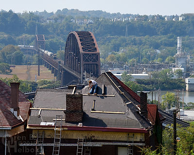 Norfolk Southern westbound Ohio Connecting Bridge Pittsburgh and roofer, Oren B Helbok photo