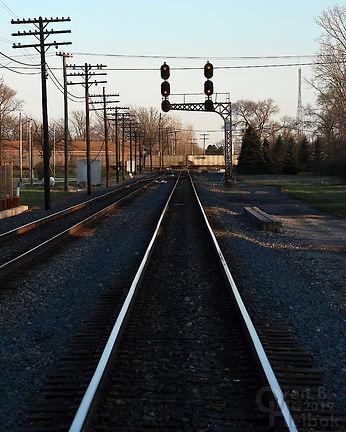 Iron Triangle, Fostoria, Ohio, C&O signals, eastbound NS freight, Oren B. Helbok photo