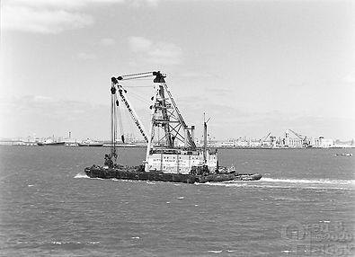 Staten Island Island Ferry, barge crane, tugboat, New York Harbor, Oren B Helbok photo