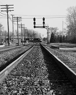 Iron Triangle, Fostoria, Ohio, C&O signals, westbound NS freight, Oren B. Helbok photo