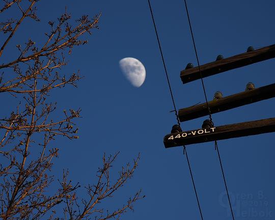 Gibbous moon over Iron Triangle, Fostoria, Ohio, Oren B. Helbok photo