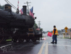 Wilmington & Western Railroad #98 with fireworks train at Hockessin, engineer Steve Jensen Jr., flagman Christian Bentley
