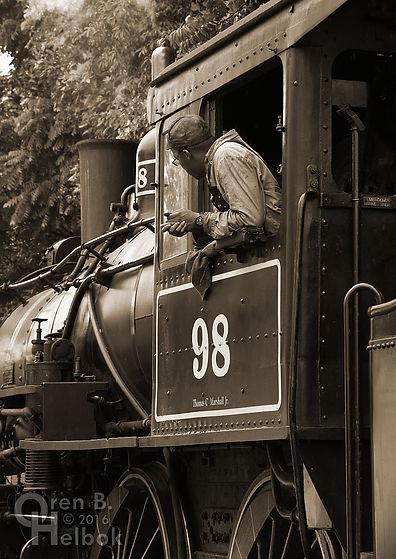 Wilmington & Western Railroad #98 at Marshallton volunteer fireman Donnell Allen