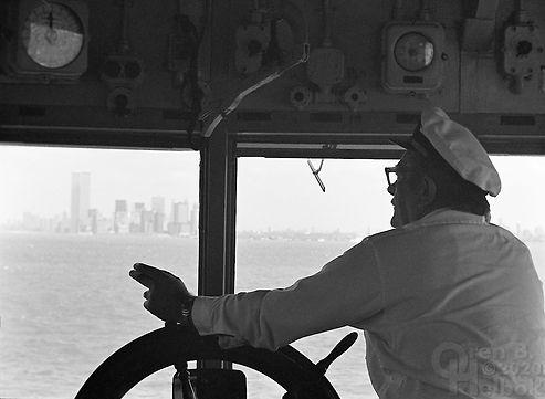 Staten Island Ferry, ferry captain, Staten Island Ferry captain, Manhattan skyline, New York Harbor, Oren B Helbok photo