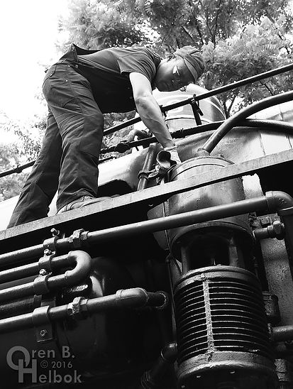 Wilmington & Western Railroad #98 at Marshallton volunteer fireman Donnell Allen lubricating air pump