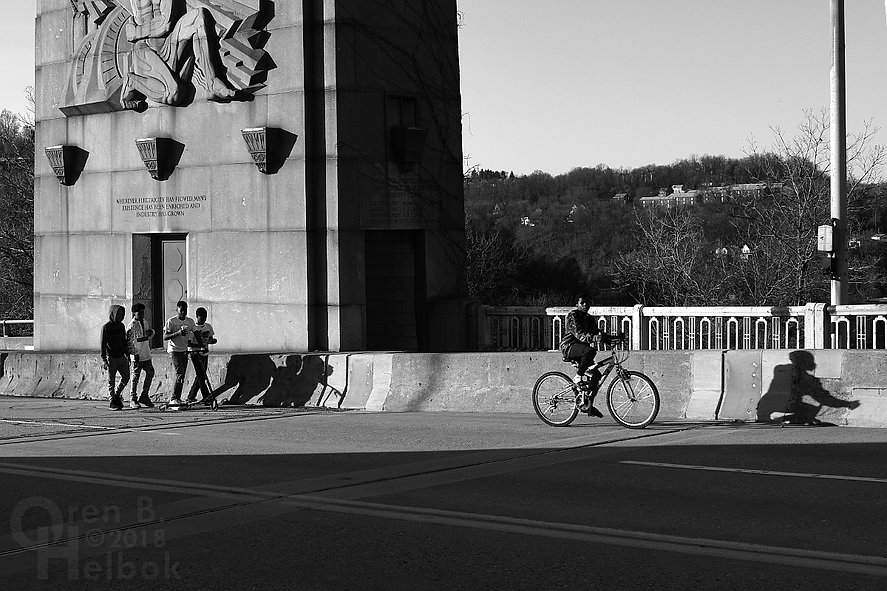 East Pittsburgh boys on the George Westinghouse Bridge, early evening, long shadows