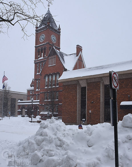 Columbia County courthouse in snow, Bloomsburg, Pennsylvania