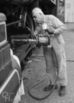 Wilmington & Western Railroad #98 at Marshallton volunteer fireman Don Young shooting alemite gun