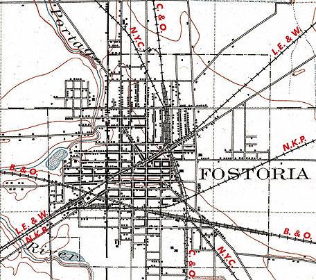 Fostoria Ohio railroad map, 1909, railsandtrails.com