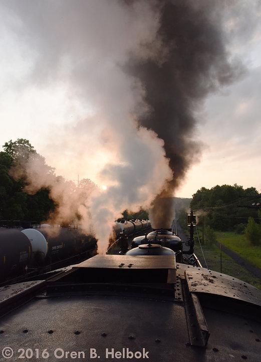 Railway Restoration Project 113's 0-6-0 C.N.J. #113 leaving Schuylkill Haven, setting sun
