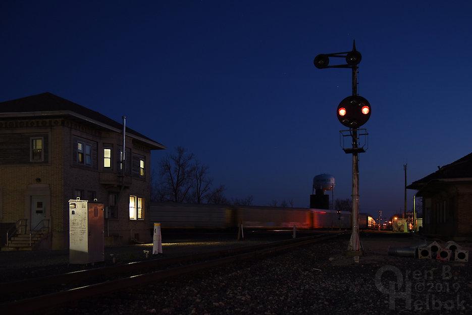 Eastbound CSX freight, Crossroads of the B. & O., Deshler, Ohio, Oren B. Helbok photo
