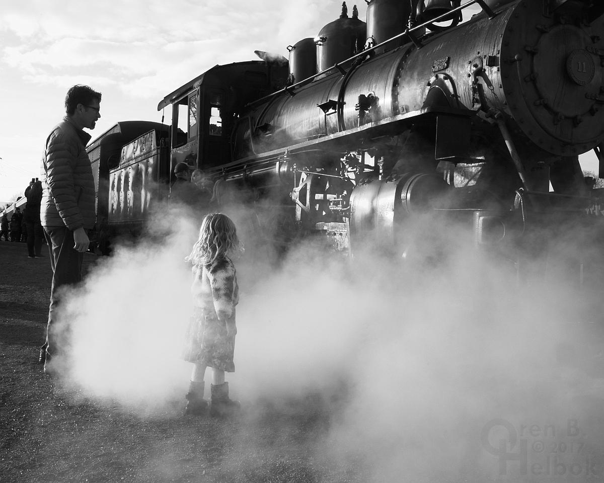 A little girl meets steam