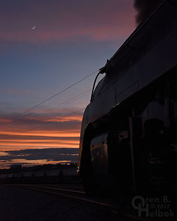 N&W 611, Norfolk & Western 611, Shaffers Crossing, sunset, moon