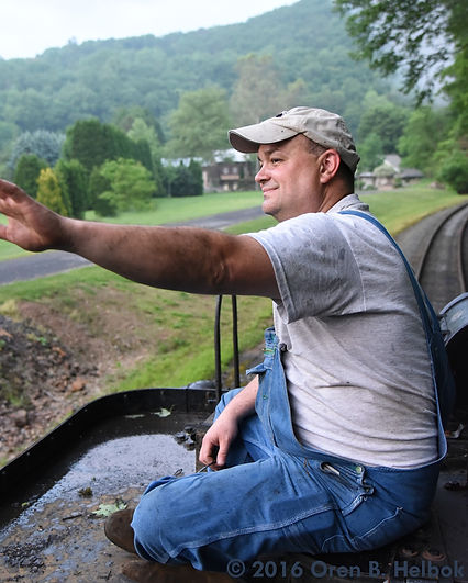 Railway Restoration Project 113's 0-6-0 C.N.J. #113 volunteer Jim Garraway riding the tender on the Minersville Branch