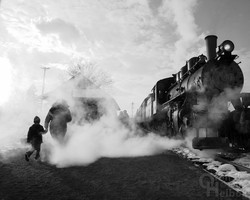 Passengers in steam at Hollidaysburg