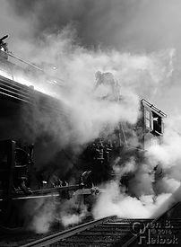 Strasburg Rail Road engineer Darin Esterly blowing down the boiler on #90