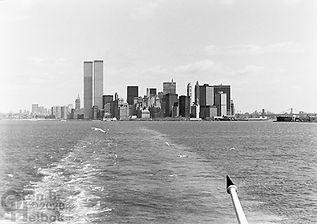 Manhattan from Staten Island Ferry, Twin Towers, World Trade Center, New York Harbor, Oren B Helbok photo