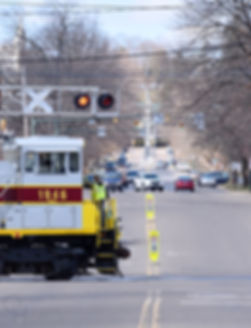 North Shore Railroad Bloomsburg Easter train eastbound crossing Market Street, Bloomsburg, March 2018