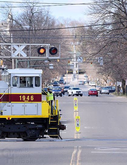 North Shore Railroad Bloomsburg Easter train eastbound crossing Market Street, Bloomsburg, March 2018