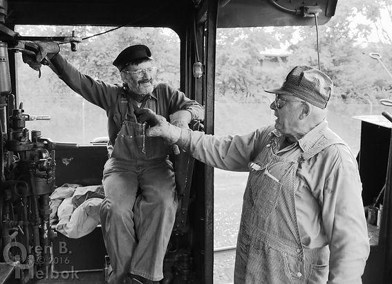 Wilmington & Western Railroad #98 at Marshallton volunteer engineer John LaCosta and fireman Don Young