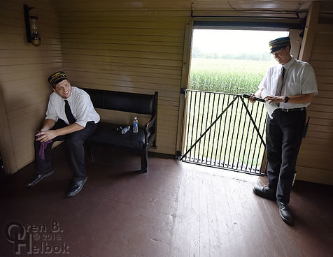 Strasburg Rail Road trainmen Brent Lefever and Mike Barron aboard baggage car