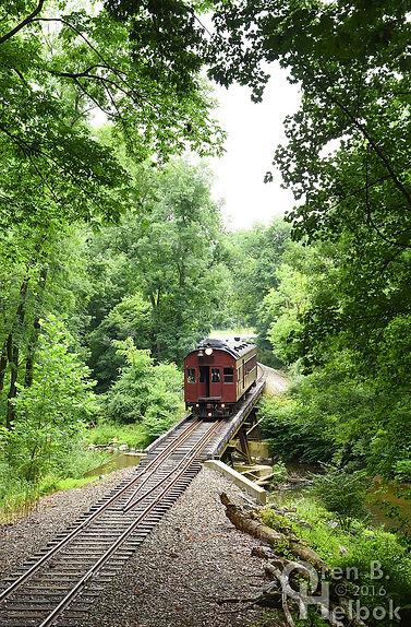 """Wilmington & Western doodlebug motorcar """"Paul Revere"""" crossing Red Clay Creek"""