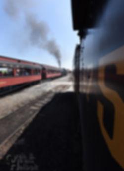 Strasburg Rail Road train behind #90 departing East Strasburg as seen from cab of #475