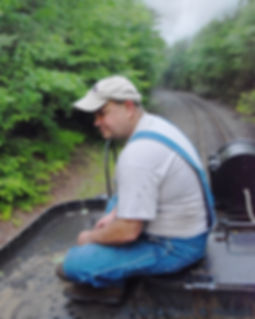 Railway Restoration Project 113's 0-6-0 C.N.J. #113 volunteer Jim Garraway riding the tender on the Minersville Branch