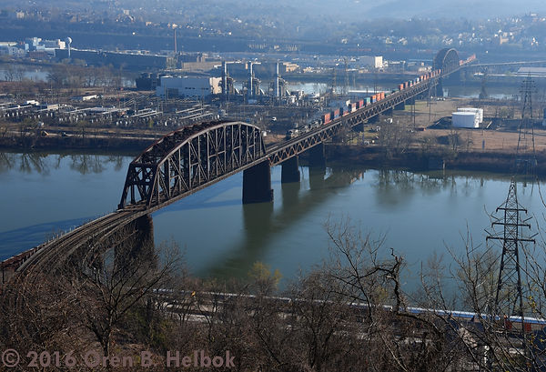 Norfolk Southern eastbound crossing the OC Bridge, Pittsburgh