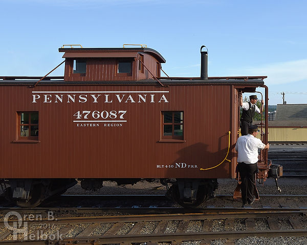 Strasburg Rail Road Pennsylvania Railroad caboose, cabin car, at East Strasburg, with Bren Lefever and Patrick Plummer