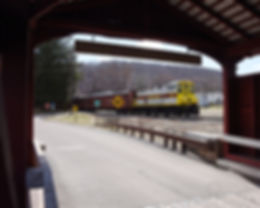 North Shore Railroad Bloomsburg Easter train eastbound at the Rupert Covered Bridge, March 2018
