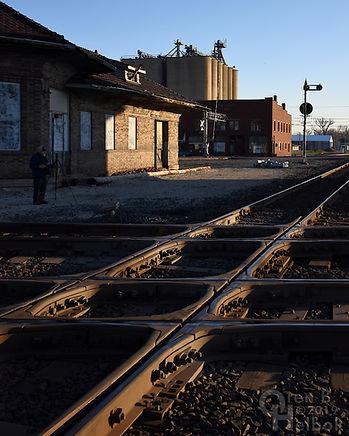 "George Hiotis at the ""Crossroads of the B. & O."", Deshler, Ohio, track diamonds, Oren B. Helbok photo"